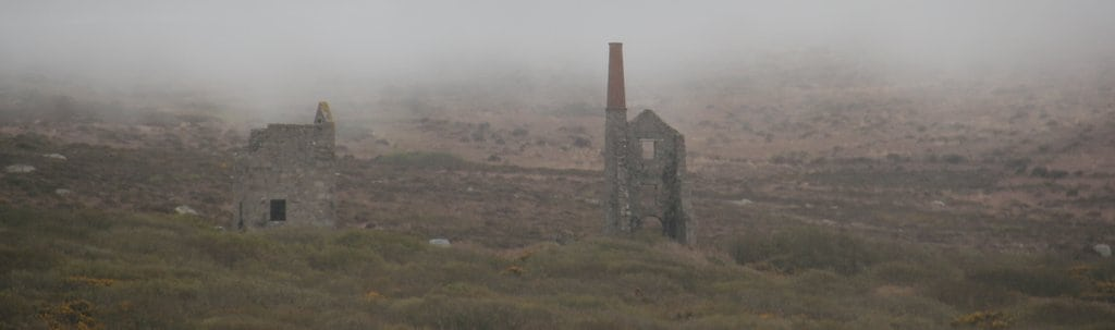Old tin mine rising in the mist